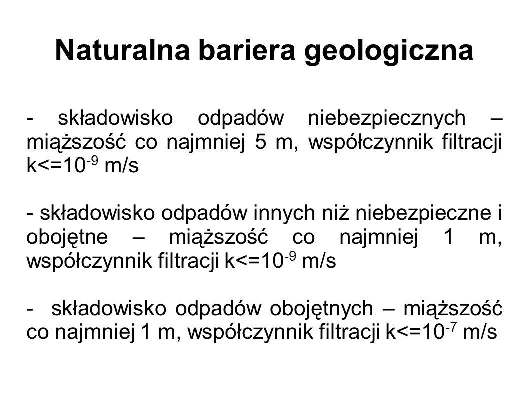 Naturalna bariera geologiczna - składowisko odpadów niebezpiecznych – miąższość co najmniej 5 m, współczynnik filtracji k<=10 -9 m/s - składowisko odpadów innych niż niebezpieczne i obojętne – miąższość co najmniej 1 m, współczynnik filtracji k<=10 -9 m/s - składowisko odpadów obojętnych – miąższość co najmniej 1 m, współczynnik filtracji k<=10 -7 m/s