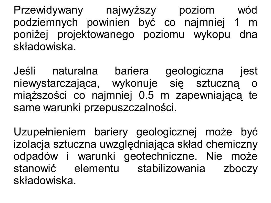 Przewidywany najwyższy poziom wód podziemnych powinien być co najmniej 1 m poniżej projektowanego poziomu wykopu dna składowiska. Jeśli naturalna bari