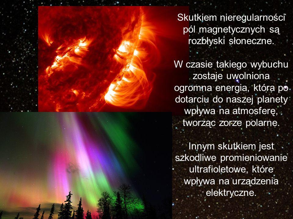 Skutkiem nieregularności pól magnetycznych są rozbłyski słoneczne.