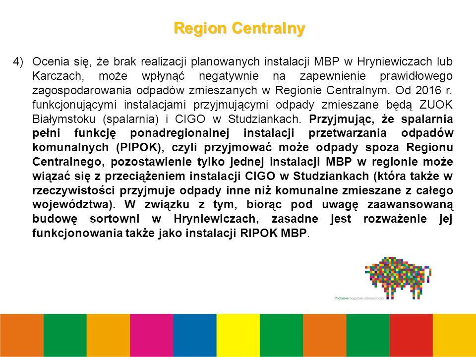 11 Region Centralny 4)Ocenia się, że brak realizacji planowanych instalacji MBP w Hryniewiczach lub Karczach, może wpłynąć negatywnie na zapewnienie prawidłowego zagospodarowania odpadów zmieszanych w Regionie Centralnym.