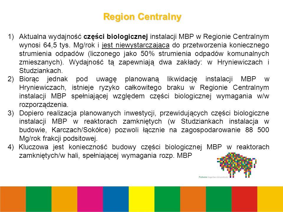13 Region Centralny 1)Aktualna wydajność części biologicznej instalacji MBP w Regionie Centralnym wynosi 64,5 tys.