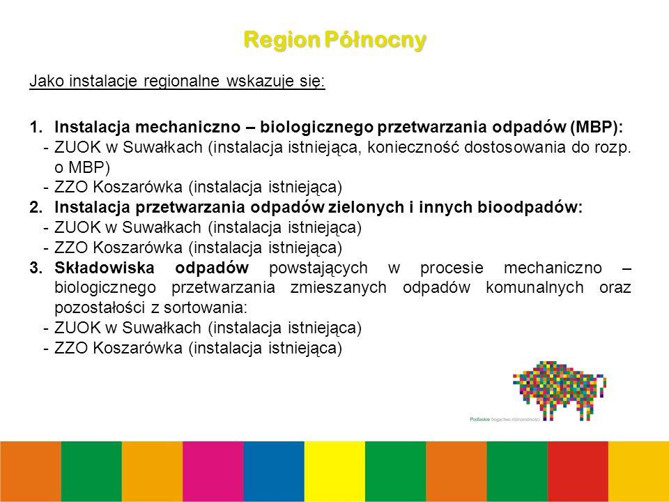 22 Region Pó ł nocny Jako instalacje regionalne wskazuje się: 1.Instalacja mechaniczno – biologicznego przetwarzania odpadów (MBP): -ZUOK w Suwałkach (instalacja istniejąca, konieczność dostosowania do rozp.
