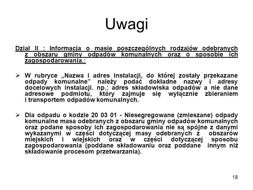 18 Uwagi Dział II : Informacja o masie poszczególnych rodzajów odebranych z obszaru gminy odpadów komunalnych oraz o sposobie ich zagospodarowania.: 