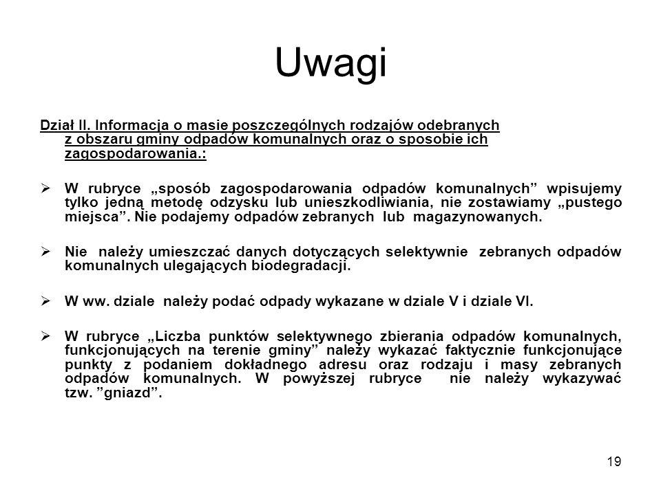 19 Uwagi Dział II. Informacja o masie poszczególnych rodzajów odebranych z obszaru gminy odpadów komunalnych oraz o sposobie ich zagospodarowania.: 