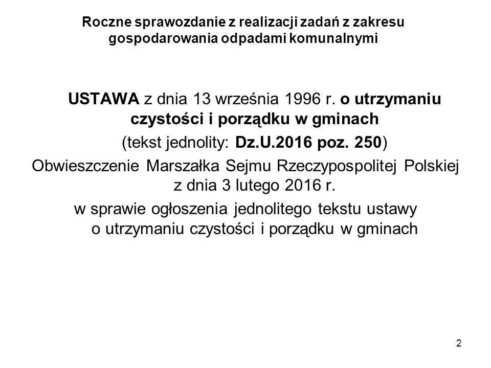 2 Roczne sprawozdanie z realizacji zadań z zakresu gospodarowania odpadami komunalnymi USTAWA z dnia 13 września 1996 r. o utrzymaniu czystości i porz