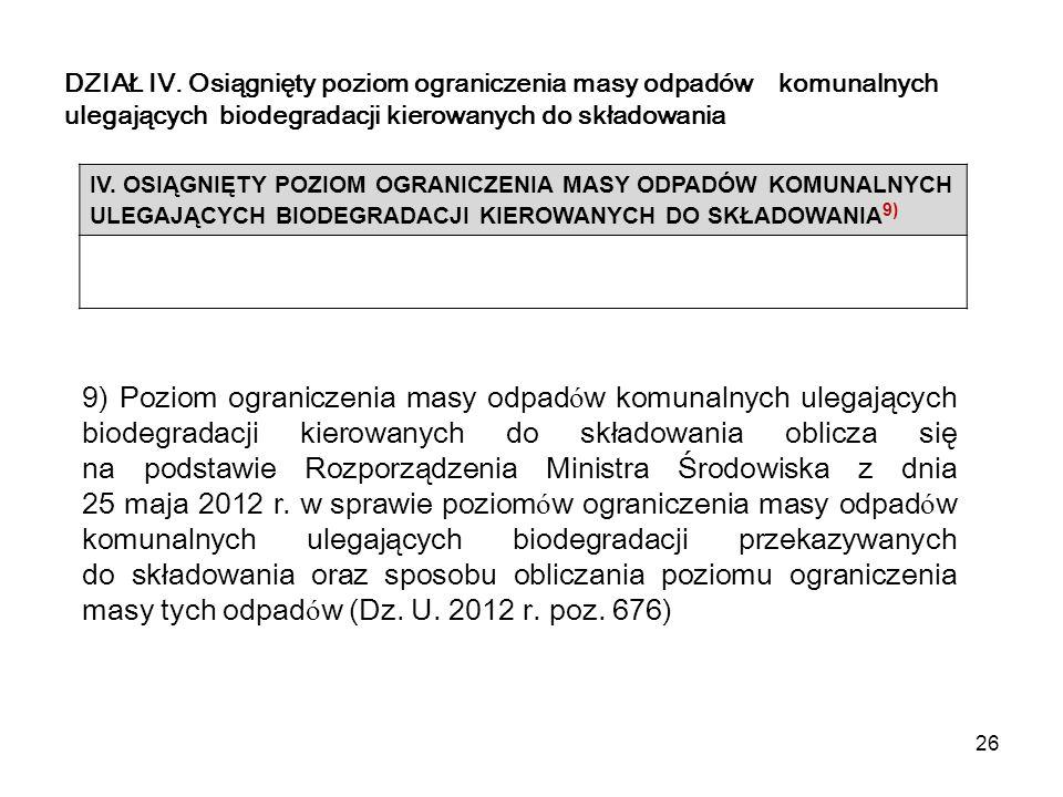 26 DZIAŁ IV. Osiągnięty poziom ograniczenia masy odpadów komunalnych ulegających biodegradacji kierowanych do składowania IV. OSIĄGNIĘTY POZIOM OGRANI
