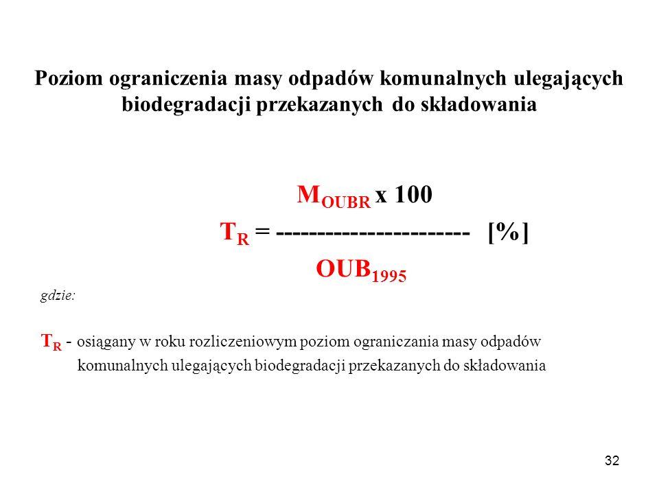 32 M OUBR x 100 T R = ----------------------- [%] OUB 1995 gdzie: T R - osiągany w roku rozliczeniowym poziom ograniczania masy odpadów komunalnych ulegających biodegradacji przekazanych do składowania Poziom ograniczenia masy odpadów komunalnych ulegających biodegradacji przekazanych do składowania