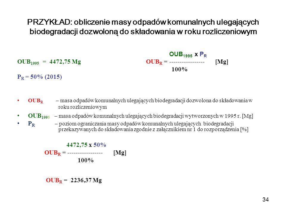 34 OUB 1995 x P R OUB 1995 = 4472,75 Mg OUB R = ----------------- [Mg] 100% P R = 50% (2015) OUB R – masa odpadów komunalnych ulegających biodegradacji dozwolona do składowania w roku rozliczeniowym OUB 1995 – masa odpadów komunalnych ulegających biodegradacji wytworzonych w 1995 r.