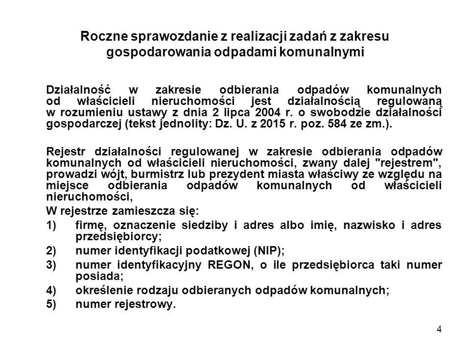 4 Roczne sprawozdanie z realizacji zadań z zakresu gospodarowania odpadami komunalnymi Działalność w zakresie odbierania odpadów komunalnych od właścicieli nieruchomości jest działalnością regulowaną w rozumieniu ustawy z dnia 2 lipca 2004 r.
