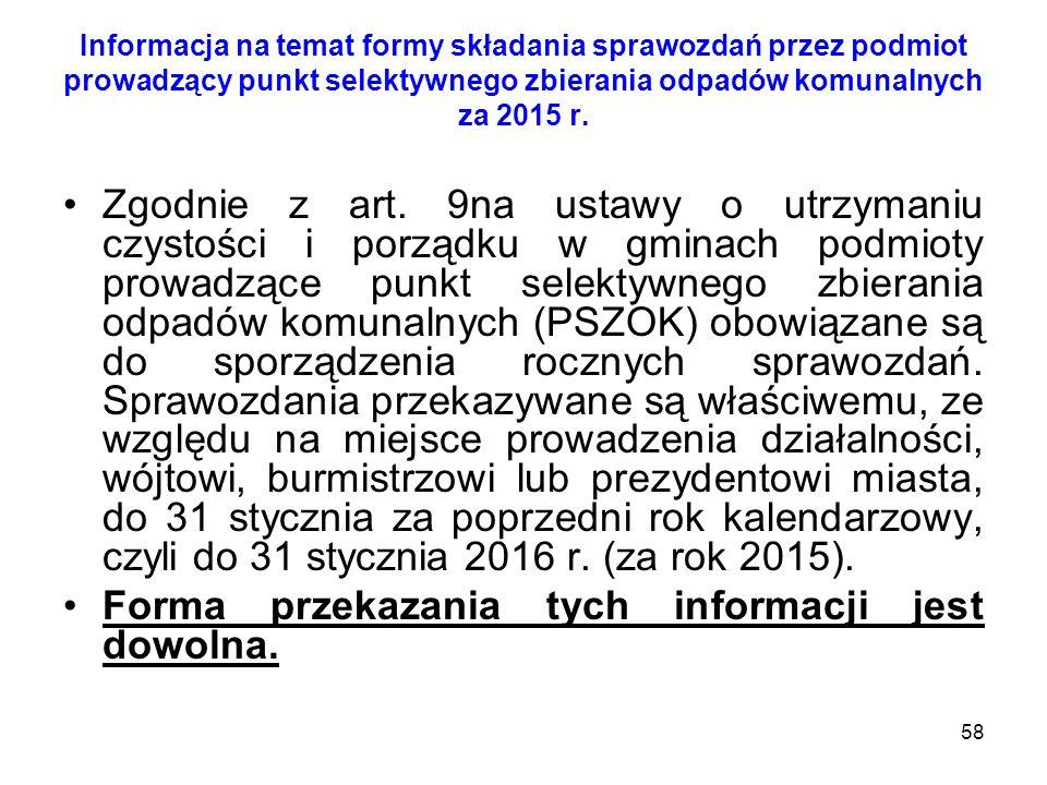 58 Informacja na temat formy składania sprawozdań przez podmiot prowadzący punkt selektywnego zbierania odpadów komunalnych za 2015 r. Zgodnie z art.