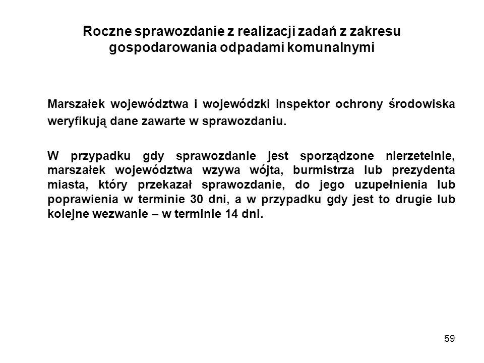 59 Roczne sprawozdanie z realizacji zadań z zakresu gospodarowania odpadami komunalnymi Marszałek województwa i wojewódzki inspektor ochrony środowiska weryfikują dane zawarte w sprawozdaniu.