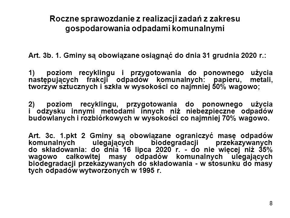 8 Roczne sprawozdanie z realizacji zadań z zakresu gospodarowania odpadami komunalnymi Art. 3b. 1. Gminy są obowiązane osiągnąć do dnia 31 grudnia 202