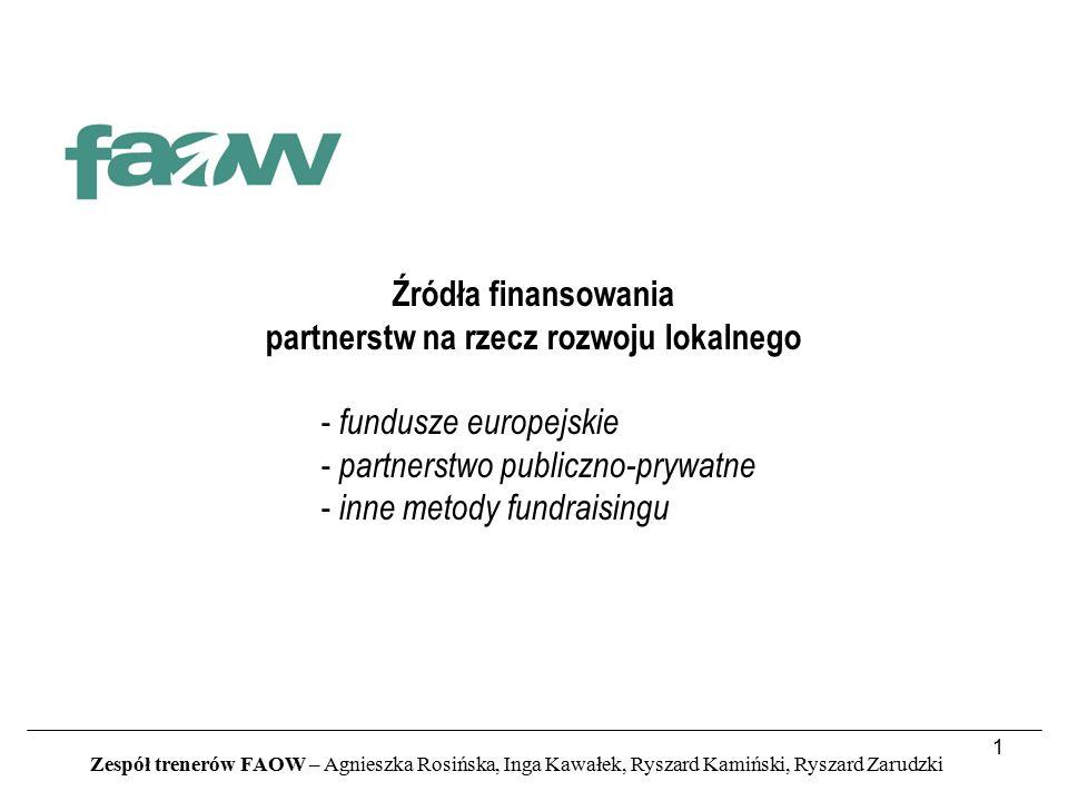 1 Źródła finansowania partnerstw na rzecz rozwoju lokalnego - fundusze europejskie - partnerstwo publiczno-prywatne - inne metody fundraisingu Zespół