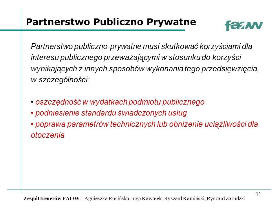 11 Zespół trenerów FAOW – Agnieszka Rosińska, Inga Kawałek, Ryszard Kamiński, Ryszard Zarudzki Partnerstwo publiczno-prywatne musi skutkować korzyścia