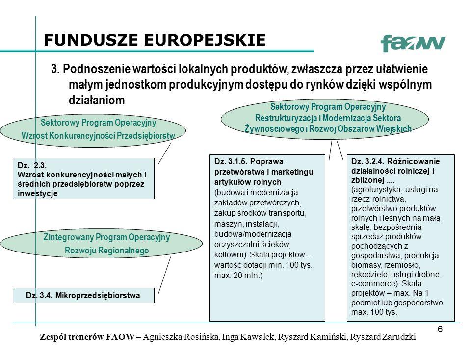 7 Zespół trenerów FAOW – Agnieszka Rosińska, Inga Kawałek, Ryszard Kamiński, Ryszard Zarudzki FUNDUSZE EUROPEJSKIE 4.