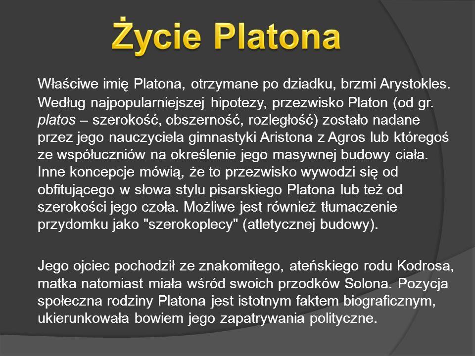 Właściwe imię Platona, otrzymane po dziadku, brzmi Arystokles. Według najpopularniejszej hipotezy, przezwisko Platon (od gr. platos – szerokość, obsze