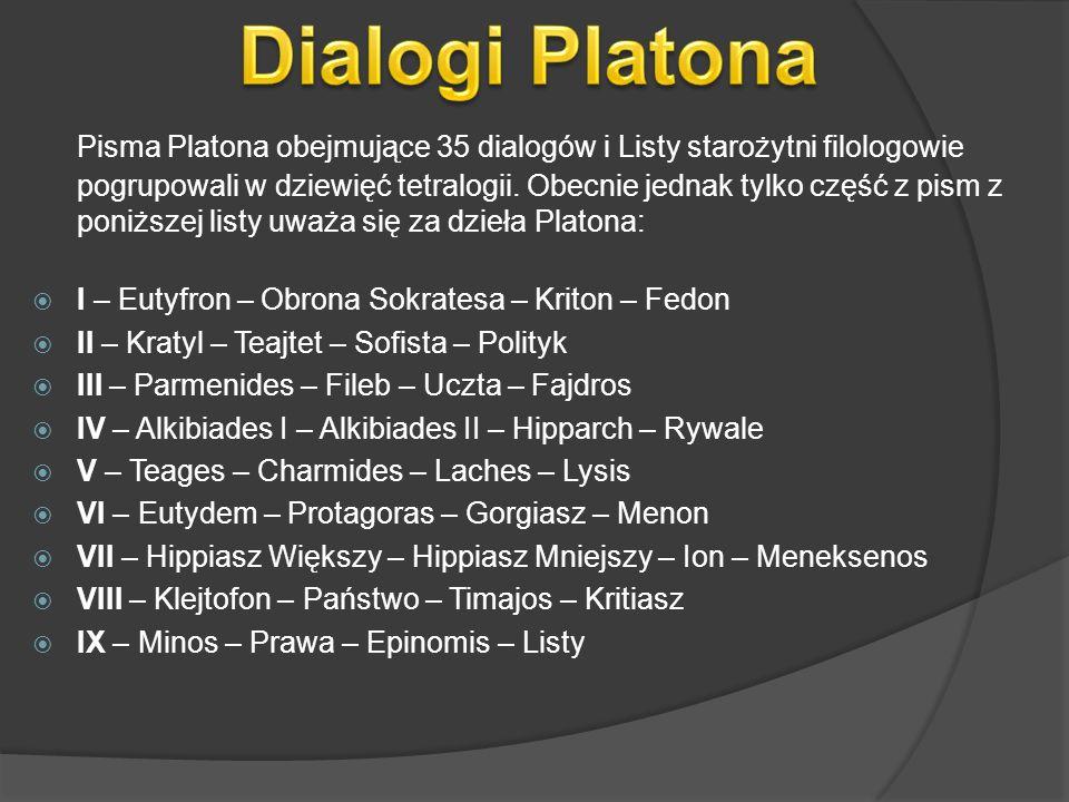 Pisma Platona obejmujące 35 dialogów i Listy starożytni filologowie pogrupowali w dziewięć tetralogii. Obecnie jednak tylko część z pism z poniższej l