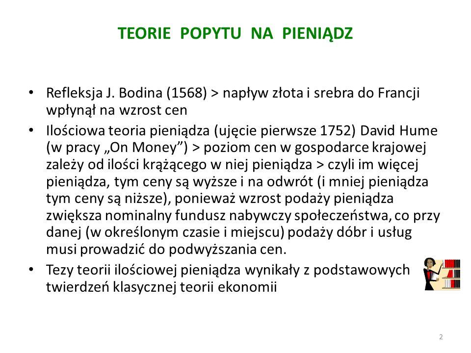 TEORIE POPYTU NA PIENIĄDZ Refleksja J.