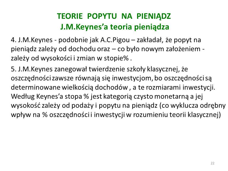 TEORIE POPYTU NA PIENIĄDZ J.M.Keynes'a teoria pieniądza 4. J.M.Keynes - podobnie jak A.C.Pigou – zakładał, że popyt na pieniądz zależy od dochodu oraz