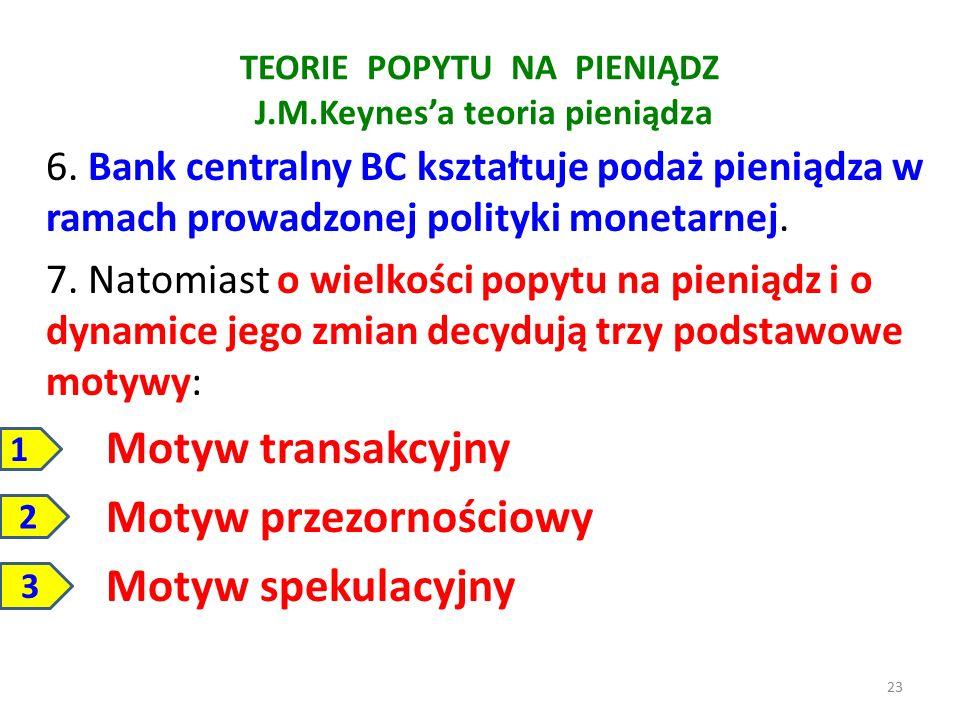 TEORIE POPYTU NA PIENIĄDZ J.M.Keynes'a teoria pieniądza 6. Bank centralny BC kształtuje podaż pieniądza w ramach prowadzonej polityki monetarnej. 7. N