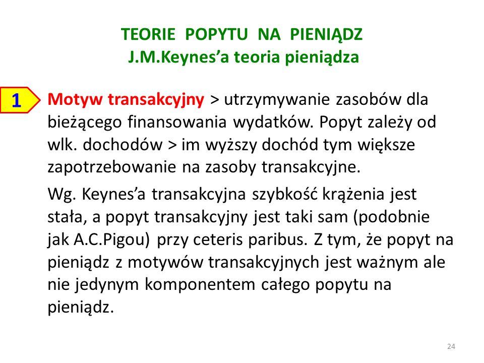 TEORIE POPYTU NA PIENIĄDZ J.M.Keynes'a teoria pieniądza Motyw transakcyjny > utrzymywanie zasobów dla bieżącego finansowania wydatków.