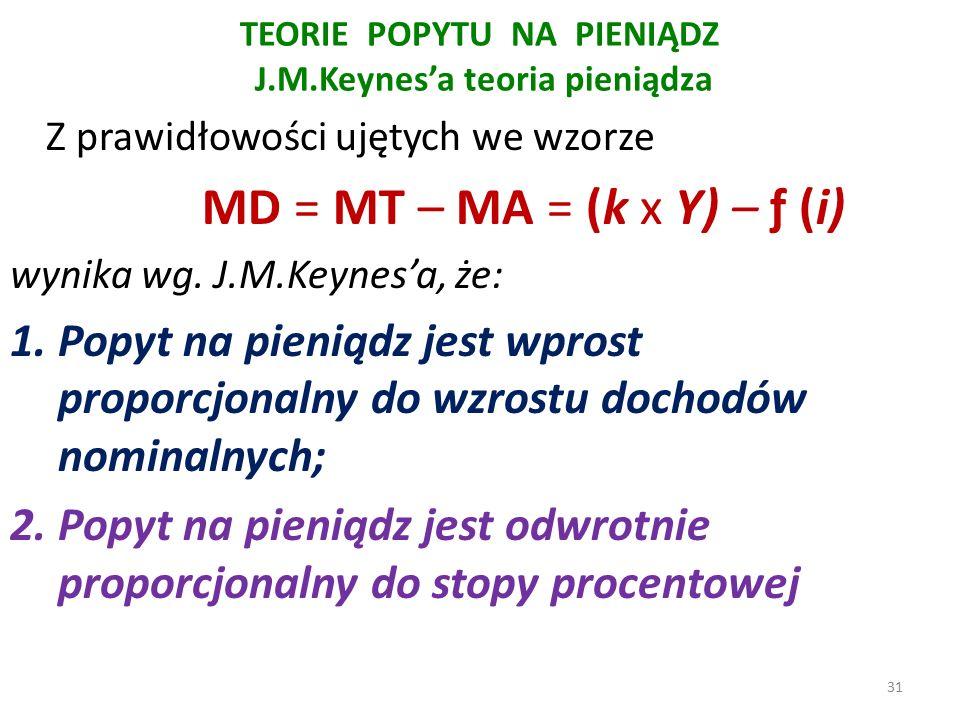 TEORIE POPYTU NA PIENIĄDZ J.M.Keynes'a teoria pieniądza Z prawidłowości ujętych we wzorze MD = MT – MA = (k x Y) – ƒ (i) wynika wg.