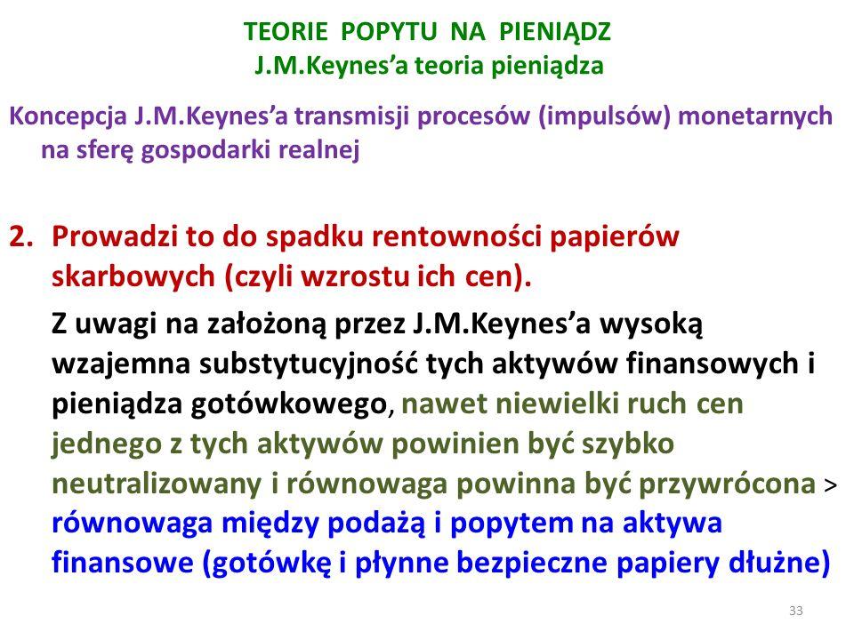 TEORIE POPYTU NA PIENIĄDZ J.M.Keynes'a teoria pieniądza Koncepcja J.M.Keynes'a transmisji procesów (impulsów) monetarnych na sferę gospodarki realnej 2.Prowadzi to do spadku rentowności papierów skarbowych (czyli wzrostu ich cen).