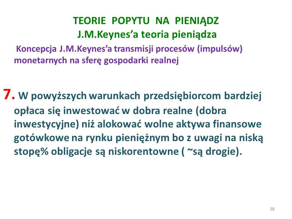 TEORIE POPYTU NA PIENIĄDZ J.M.Keynes'a teoria pieniądza Koncepcja J.M.Keynes'a transmisji procesów (impulsów) monetarnych na sferę gospodarki realnej 7.