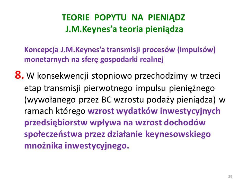 TEORIE POPYTU NA PIENIĄDZ J.M.Keynes'a teoria pieniądza Koncepcja J.M.Keynes'a transmisji procesów (impulsów) monetarnych na sferę gospodarki realnej 8.