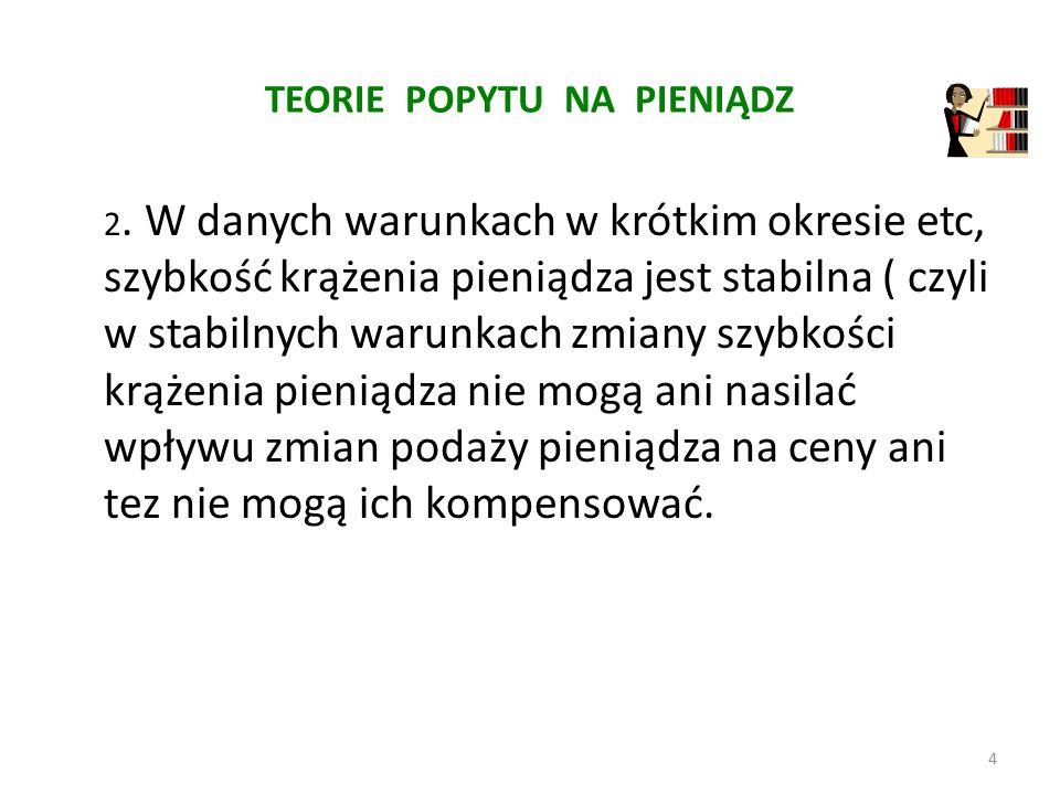 TEORIE POPYTU NA PIENIĄDZ 3.