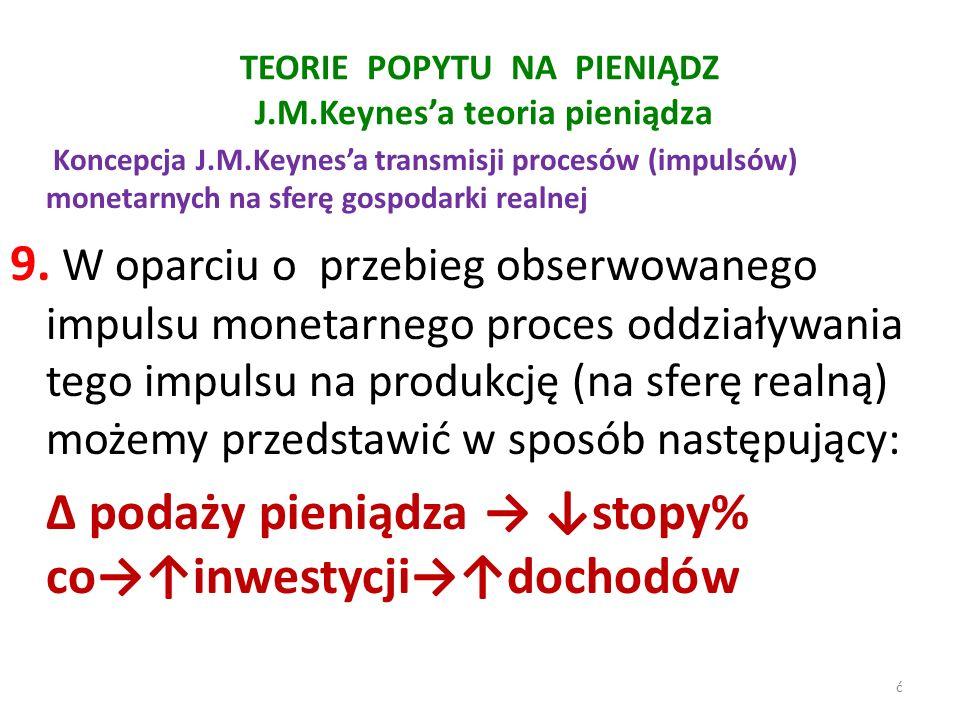 TEORIE POPYTU NA PIENIĄDZ J.M.Keynes'a teoria pieniądza Koncepcja J.M.Keynes'a transmisji procesów (impulsów) monetarnych na sferę gospodarki realnej 9.