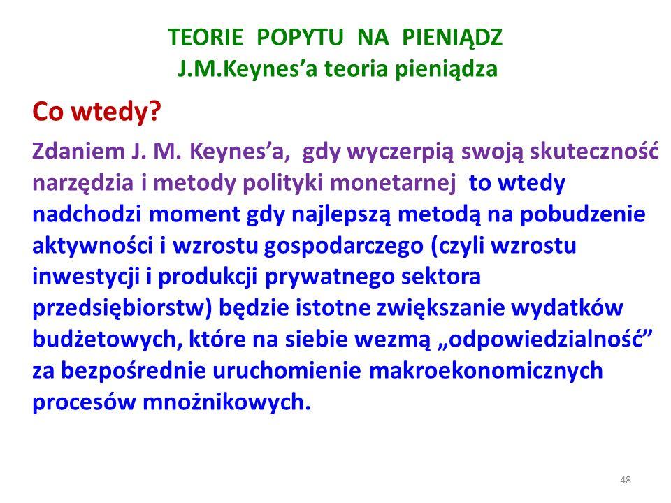 TEORIE POPYTU NA PIENIĄDZ J.M.Keynes'a teoria pieniądza Co wtedy.