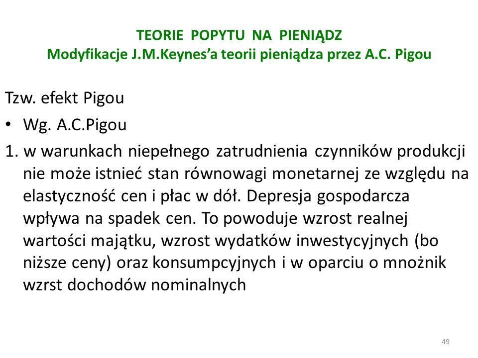 TEORIE POPYTU NA PIENIĄDZ Modyfikacje J.M.Keynes'a teorii pieniądza przez A.C.