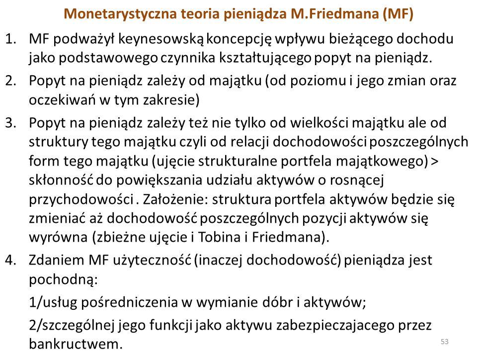Monetarystyczna teoria pieniądza M.Friedmana (MF) 1.MF podważył keynesowską koncepcję wpływu bieżącego dochodu jako podstawowego czynnika kształtującego popyt na pieniądz.