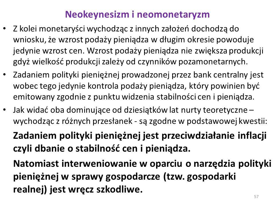 Neokeynesizm i neomonetaryzm Z kolei monetaryści wychodząc z innych założeń dochodzą do wniosku, że wzrost podaży pieniądza w długim okresie powoduje jedynie wzrost cen.