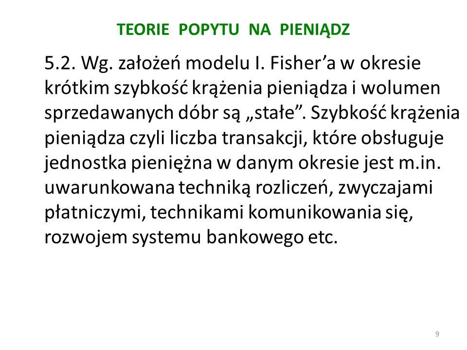 TEORIE POPYTU NA PIENIĄDZ 5.2. Wg. założeń modelu I.