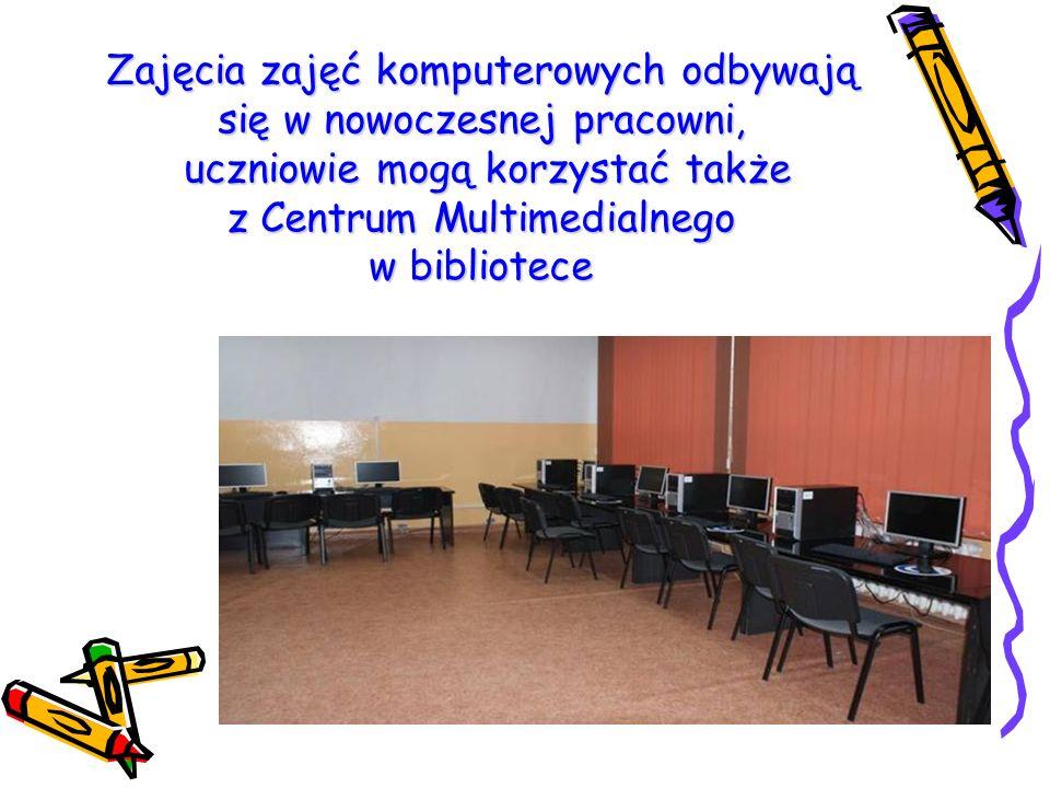 Zajęcia zajęć komputerowych odbywają się w nowoczesnej pracowni, uczniowie mogą korzystać także z Centrum Multimedialnego w bibliotece