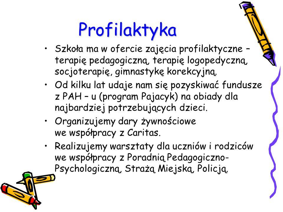 Profilaktyka Szkoła ma w ofercie zajęcia profilaktyczne – terapię pedagogiczną, terapię logopedyczną, socjoterapię, gimnastykę korekcyjną.