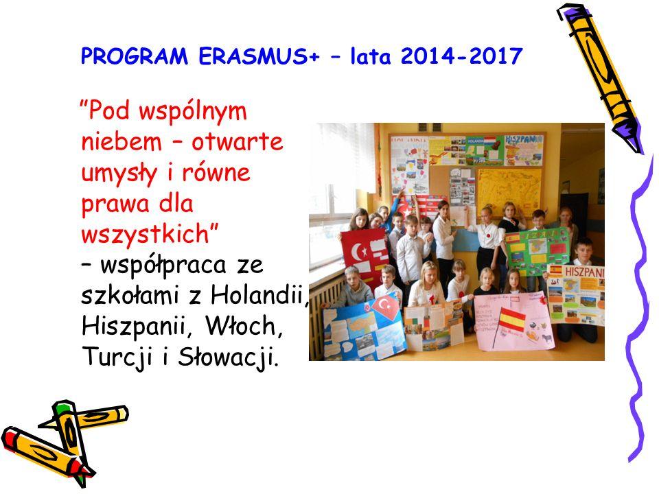 PROGRAM ERASMUS+ – lata 2014-2017 Pod wspólnym niebem – otwarte umysły i równe prawa dla wszystkich – współpraca ze szkołami z Holandii, Hiszpanii, Włoch, Turcji i Słowacji.