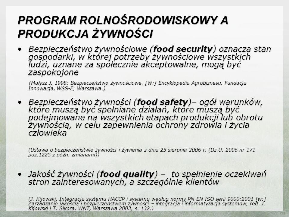 PROGRAM ROLNOŚRODOWISKOWY A PRODUKCJA ŻYWNOŚCI Bezpieczeństwo żywnościowe (food security) oznacza stan gospodarki, w której potrzeby żywnościowe wszystkich ludzi, uznane za społecznie akceptowalne, mogą być zaspokojoneBezpieczeństwo żywnościowe (food security) oznacza stan gospodarki, w której potrzeby żywnościowe wszystkich ludzi, uznane za społecznie akceptowalne, mogą być zaspokojone (Małysz J.