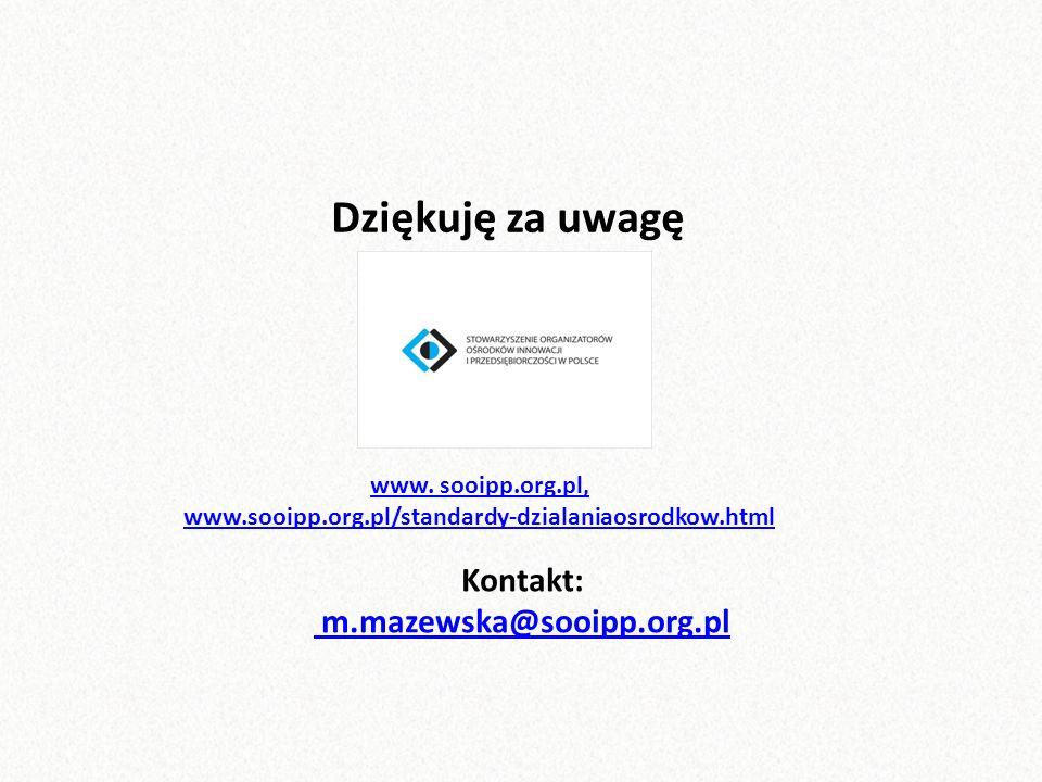 Dziękuję za uwagę Kontakt: m.mazewska@sooipp.org.pl www.