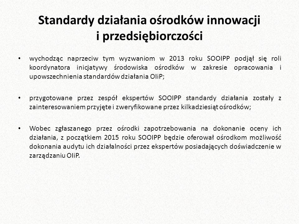 Standardy działania ośrodków innowacji i przedsiębiorczości wychodząc naprzeciw tym wyzwaniom w 2013 roku SOOIPP podjął się roli koordynatora inicjatywy środowiska ośrodków w zakresie opracowania i upowszechnienia standardów działania OIiP; przygotowane przez zespół ekspertów SOOIPP standardy działania zostały z zainteresowaniem przyjęte i zweryfikowane przez kilkadziesiąt ośrodków; Wobec zgłaszanego przez ośrodki zapotrzebowania na dokonanie oceny ich działania, z początkiem 2015 roku SOOIPP będzie oferował ośrodkom możliwość dokonania audytu ich działalności przez ekspertów posiadających doświadczenie w zarządzaniu OIiP.