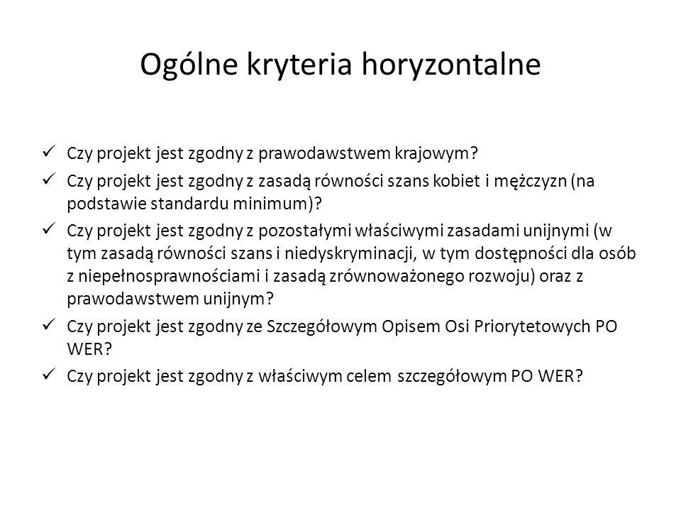 Ogólne kryteria horyzontalne Czy projekt jest zgodny z prawodawstwem krajowym.