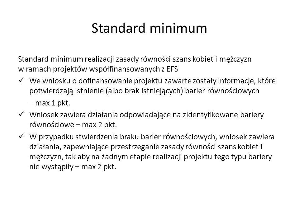 Standard minimum Standard minimum realizacji zasady równości szans kobiet i mężczyzn w ramach projektów współfinansowanych z EFS We wniosku o dofinansowanie projektu zawarte zostały informacje, które potwierdzają istnienie (albo brak istniejących) barier równościowych – max 1 pkt.