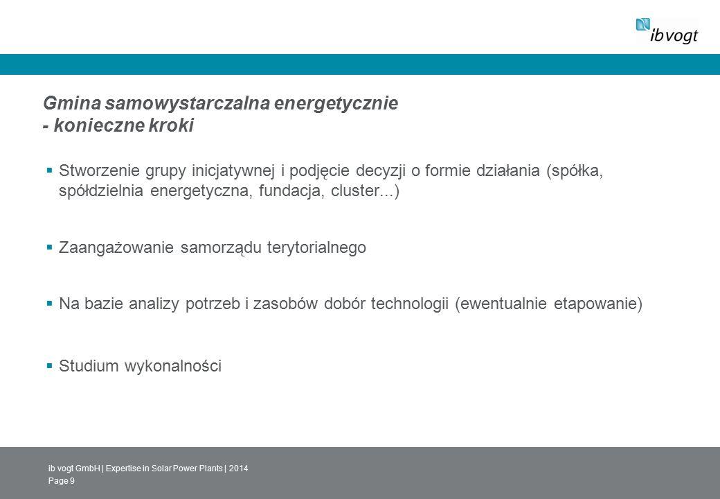ib vogt GmbH | Expertise in Solar Power Plants | 2014 Page 9 Gmina samowystarczalna energetycznie - konieczne kroki  Stworzenie grupy inicjatywnej i podjęcie decyzji o formie działania (spółka, spółdzielnia energetyczna, fundacja, cluster...)  Zaangażowanie samorządu terytorialnego  Na bazie analizy potrzeb i zasobów dobór technologii (ewentualnie etapowanie)  Studium wykonalności