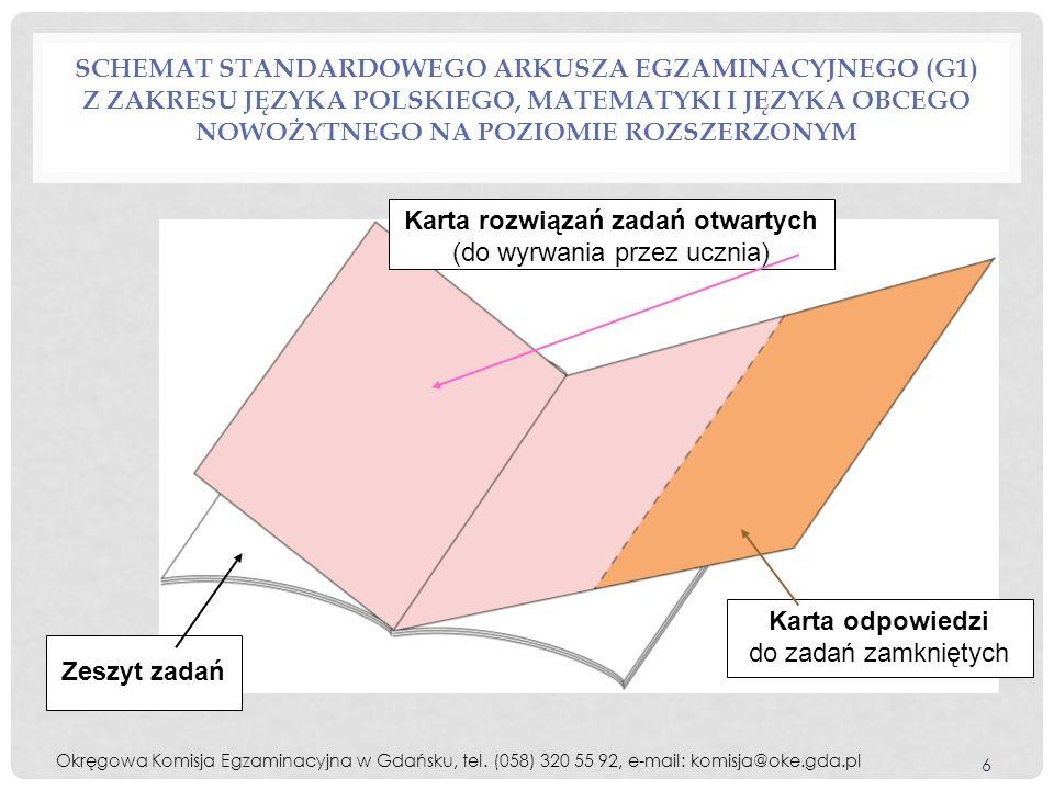 SCHEMAT STANDARDOWEGO ARKUSZA EGZAMINACYJNEGO (G1) Z ZAKRESU JĘZYKA POLSKIEGO, MATEMATYKI I JĘZYKA OBCEGO NOWOŻYTNEGO NA POZIOMIE ROZSZERZONYM 6 Karta rozwiązań zadań otwartych (do wyrwania przez ucznia) Karta odpowiedzi do zadań zamkniętych Zeszyt zadań Okręgowa Komisja Egzaminacyjna w Gdańsku, tel.