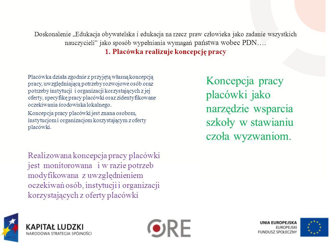 """Doskonalenie """"Edukacja obywatelska i edukacja na rzecz praw człowieka jako zadanie wszystkich nauczycieli jako sposób wypełniania wymagań państwa wobec PDN…."""