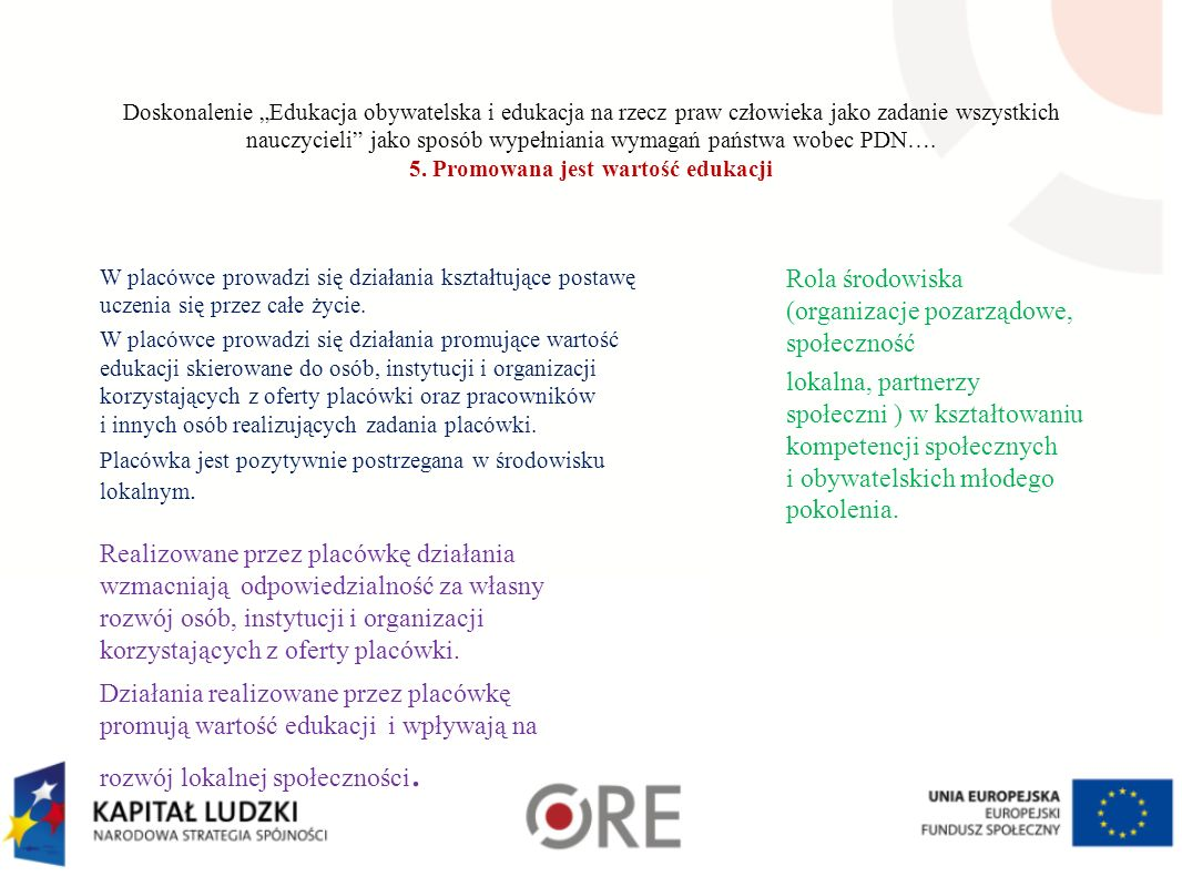 """Doskonalenie """"Edukacja obywatelska i edukacja na rzecz praw człowieka jako zadanie wszystkich nauczycieli"""" jako sposób wypełniania wymagań państwa wob"""