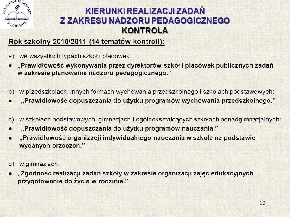 KIERUNKI REALIZACJI ZADAŃ Z ZAKRESU NADZORU PEDAGOGICZNEGO KONTROLA Rok szkolny 2010/2011 (14 tematów kontroli): a)we wszystkich typach szkół i placów
