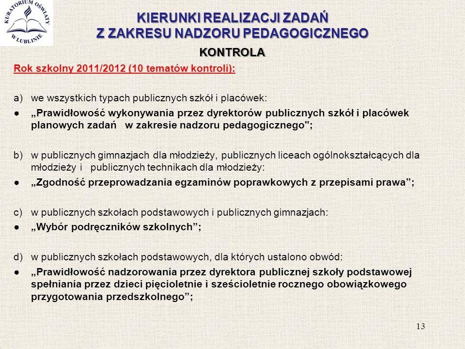 KIERUNKI REALIZACJI ZADAŃ Z ZAKRESU NADZORU PEDAGOGICZNEGO KONTROLA Rok szkolny 2011/2012 (10 tematów kontroli): a)we wszystkich typach publicznych sz